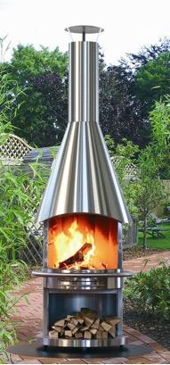 Mobiler Edelstahl Grillkamin von Feuerdesign